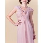 Sheath/Column Plus Sizes / Petite Mother of the Bride Dress - Blushing Pink Floor-length Sleeveless Chiffon Mother Of The Bride Dresses