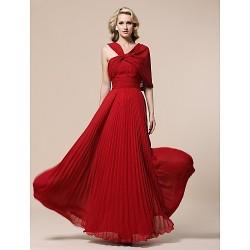 Prom / Military Ball / Formal Evening Dress - Ruby Plus Sizes / Petite Sheath/Column V-neck Floor-length Chiffon