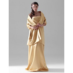 Floor Length Satin Bridesmaid Dress Gold Plus Sizes Petite Sheath Column Strapless
