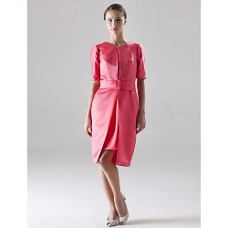 Knee-length Satin Bridesmaid Dress - Watermelon Plus Sizes / Petite Sheath/Column Jewel