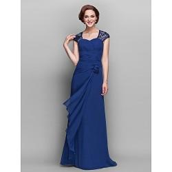 Sheath Column Plus Sizes Petite Mother Of The Bride Dress Dark Navy Floor Length Short Sleeve Georgette