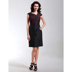 Cocktail Party Wedding Party Holiday Dress Black Plus Sizes Petite Sheath Column V Neck Knee Length Taffeta