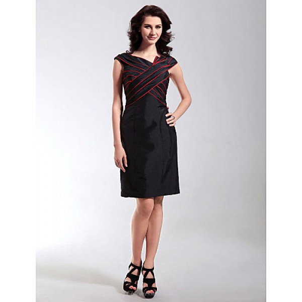 Cocktail Party Wedding Party Holiday Dress Black Plus Sizes Petite Sheath Column V Neck Knee Length Taffeta