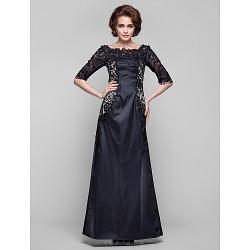 Dress - Black Plus Sizes / Petite Sheath/Column Bateau Floor-length Lace / Stretch Satin