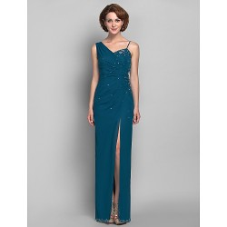 Sheath Column Plus Sizes Petite Mother Of The Bride Dress Ink Blue Floor Length Sleeveless Chiffon