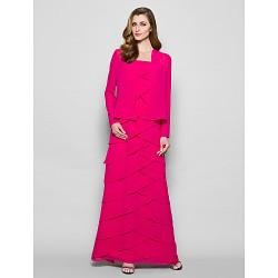 Sheath Column Plus Sizes Petite Mother Of The Bride Dress Fuchsia Floor Length Long Sleeve Georgette