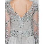 A-line Mother of the Bride Dress - Silver Floor-length Long Sleeve Chiffon / Lace Mother Of The Bride Dresses