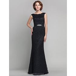 Sheath Column Plus Sizes Petite Mother Of The Bride Dress Black Floor Length Sleeveless Lace