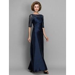 A-line / Sheath/Column Mother of the Bride Dress - Dark Navy Ankle-length Half Sleeve Lace / Taffeta