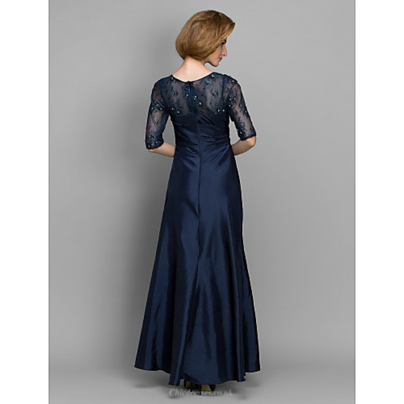 A Line Sheath Column Mother Of The Bride Dress Dark