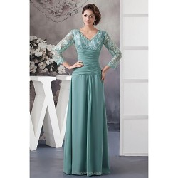 A Line Petite Mother Of The Bride Dress Dark Green Floor Length 3 4 Length Sleeve Chiffon Lace