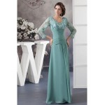 A-line Petite Mother of the Bride Dress - Dark Green Floor-length 3/4 Length Sleeve Chiffon / Lace Mother Of The Bride Dresses