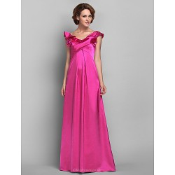 A-line Plus Sizes / Petite Mother of the Bride Dress - Fuchsia Floor-length Sleeveless Satin