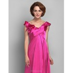 A-line Plus Sizes / Petite Mother of the Bride Dress - Fuchsia Floor-length Sleeveless Satin Mother Of The Bride Dresses