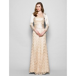 Sheath/Column Plus Sizes / Petite Mother of the Bride Dress - Champagne Floor-length 3/4 Length Sleeve Lace / Satin