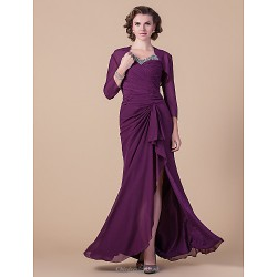 Sheath/Column Plus Sizes / Petite Mother of the Bride Dress - Grape Floor-length Long Sleeve Chiffon