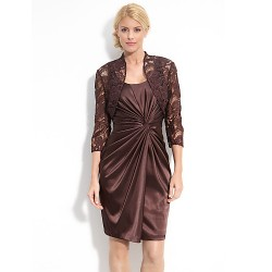 Sheath Column Mother Of The Bride Dress Chocolate Knee Length Taffeta