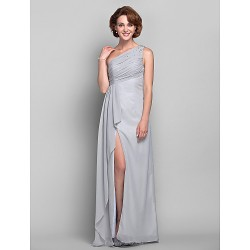 Dress Silver Plus Sizes Petite Sheath Column One Shoulder Floor Length Chiffon