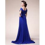 A-line Plus Sizes / Petite Mother of the Bride Dress - Royal Blue Sweep/Brush Train Short Sleeve Chiffon / Stretch Satin Mother Of The Bride Dresses