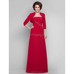 Dress - Ruby Plus Sizes / Petite Sheath/Column Strapless Floor-length Chiffon