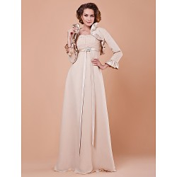 Sheath/Column Plus Sizes / Petite Mother of the Bride Dress - Champagne Floor-length 3/4 Length Sleeve Chiffon / Satin