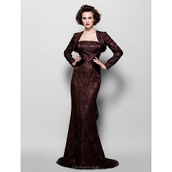 Trumpet Mermaid Plus Sizes Petite Mother Of The Bride Dress Chocolate Sweep Brush Train Long Sleeve Lace Stretch Satin