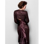 Trumpet/Mermaid Plus Sizes / Petite Mother of the Bride Dress - Chocolate Sweep/Brush Train Long Sleeve Lace / Stretch Satin Mother Of The Bride Dresses