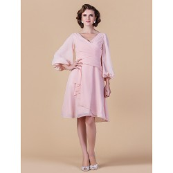 A Line Plus Sizes Petite Mother Of The Bride Dress Blushing Pink Knee Length 3 4 Length Sleeve Chiffon