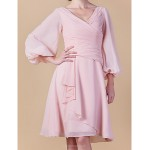 A-line Plus Sizes / Petite Mother of the Bride Dress - Blushing Pink Knee-length 3/4 Length Sleeve Chiffon Mother Of The Bride Dresses