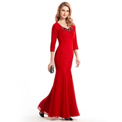Trumpet Mermaid Mother Of The Bride Dress Ruby Ankle Length 3 4 Length Sleeve Chiffon