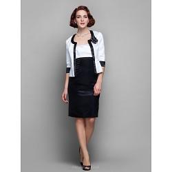 Sheath/Column Plus Sizes / Petite Mother of the Bride Dress - Multi-color Knee-length Half Sleeve Satin