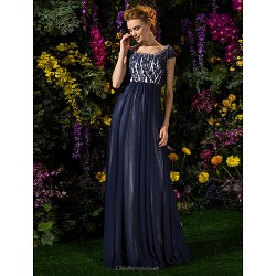 A Line Plus Sizes Petite Mother Of The Bride Dress Dark Navy Floor Length Short Sleeve Tulle Lace