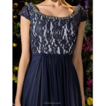 A-line Plus Sizes / Petite Mother of the Bride Dress - Dark Navy Floor-length Short Sleeve Tulle / Lace Mother Of The Bride Dresses