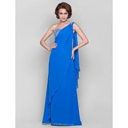 Sheath Column Plus Sizes Petite Mother Of The Bride Dress Ocean Blue Floor Length Watteau Train Sleeveless Chiffon