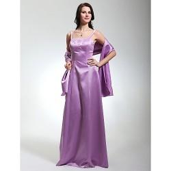 Floor Length Satin Bridesmaid Dress Lilac Plus Sizes Petite Sheath Column Spaghetti Straps