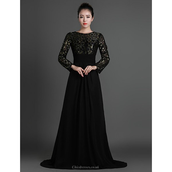 Sheath/Column Mother of the Bride Dress - Black Sweep/Brush Train Chiffon / Lace Mother Of The Bride Dresses