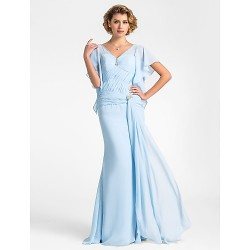 Trumpet Mermaid Plus Sizes Petite Mother Of The Bride Dress Sky Blue Floor Length Short Sleeve Chiffon