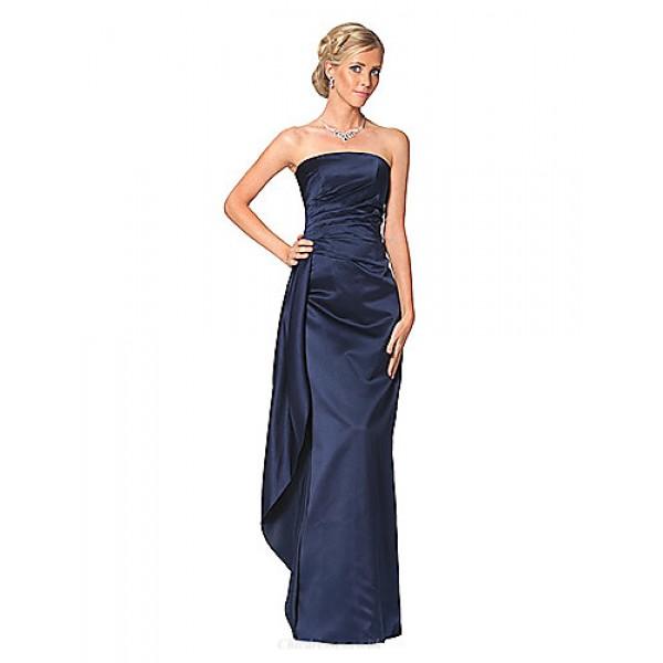 Dress - Dark Navy / Clover Petite Sheath/Column Strapless Floor-length Satin Mother Of The Bride Dresses