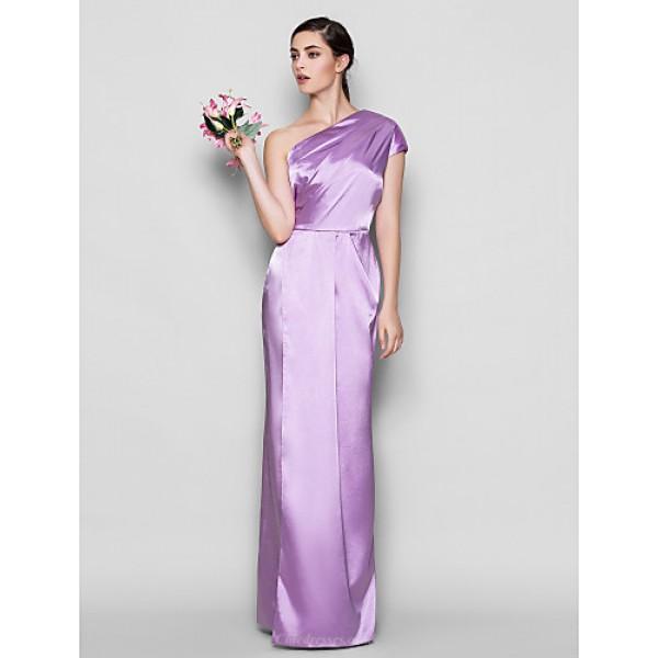 Floor-length Charmeuse Bridesmaid Dress - Lilac Plus Sizes / Petite Sheath/Column One Shoulder Mother Of The Bride Dresses