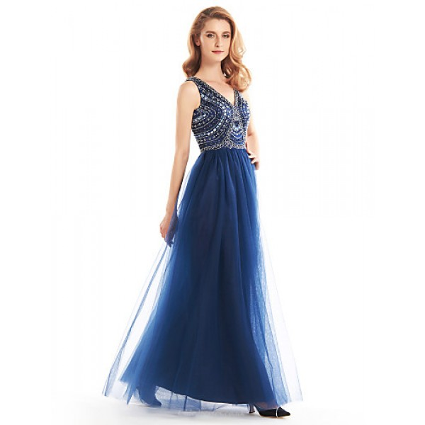 A-line Mother of the Bride Dress - Dark Navy Ankle-length Sleeveless Tulle Mother Of The Bride Dresses