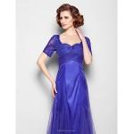 A-line Plus Sizes / Petite Mother of the Bride Dress - Regency Floor-length Short Sleeve Lace / Tulle Mother Of The Bride Dresses