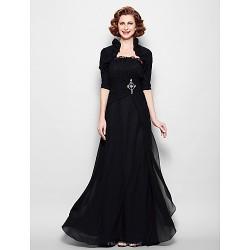 A-line Plus Sizes / Petite Mother of the Bride Dress - Black Floor-length Half Sleeve Chiffon