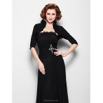 A-line Plus Sizes / Petite Mother of the Bride Dress - Black Floor-length Half Sleeve Chiffon Mother Of The Bride Dresses