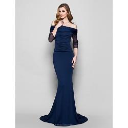 Trumpet Mermaid Plus Sizes Petite Mother Of The Bride Dress Dark Navy Sweep Brush Train 3 4 Length Sleeve Jersey Tulle