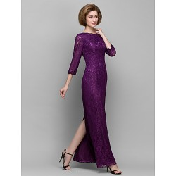 Sheath/Column Mother of the Bride Dress - Grape Ankle-length 3/4 Length Sleeve Lace