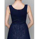 A-line Mother of the Bride Dress - Dark Navy Knee-length 3/4 Length Sleeve Chiffon Mother Of The Bride Dresses