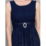 A-line Mother of the Bride Dress - Dark Navy Knee-length 3/4 Length Sleeve Chiffon Mother Of The Bride Dresses