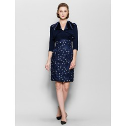 Sheath Column Mother Of The Bride Dress Dark Navy Knee Length 3 4 Length Sleeve Chiffon Charmeuse