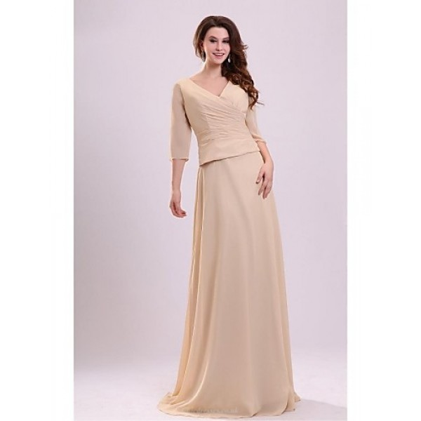 Sheath/Column Mother of the Bride Dress - Champagne Floor-length Chiffon Mother Of The Bride Dresses