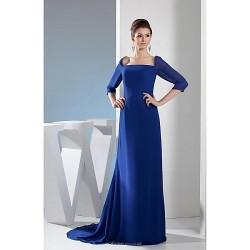 Sheath Column Mother Of The Bride Dress Royal Blue Court Train Chiffon